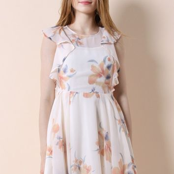 Frilling Watercolor Floral Dress in Beige