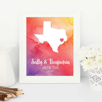 personalised wedding gift, water colour art, gift for mum, water color, love gift, Personalised love map, long distance love