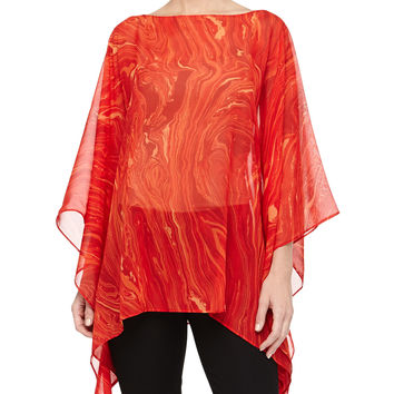 Women's Marble On Chiffon Poncho Top, Coral - Michael Kors - Coral multi (ONE SIZE)