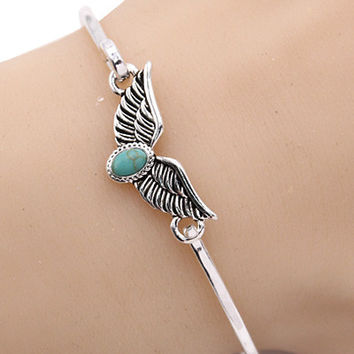 """8"""" silver turquoise wings bracelet bangle cuff"""