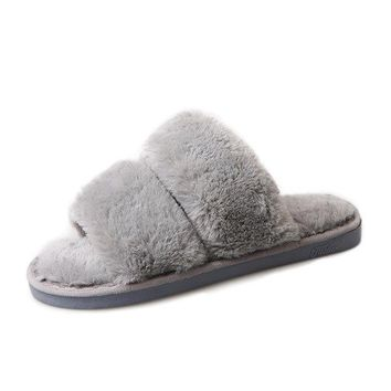 Solid Color Rabbit Fur Cony Hair House Soft Slippers For Women
