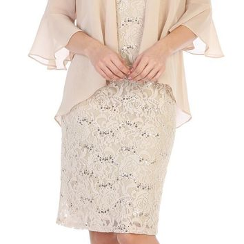 Short Formal Mother of the Bride Evening Dress with Bolero