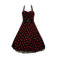 50's Big Polka Dot Dress Red