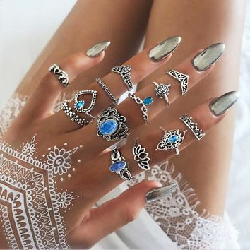 Animal Ring Retro Fashion Hollow Lotus Crown Set With Diamond Heart Elephant Rings 13PCS/Set
