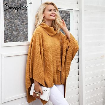 Simplee Knitted turtleneck sweater cape Women casual gray winter pullover poncho Autumn streetwear warm black capes tops 2017