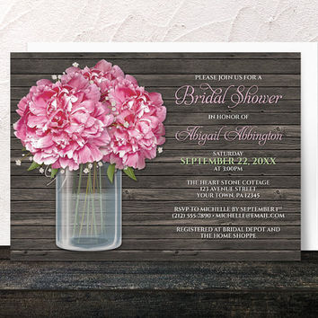 Rustic Peony Bridal Shower Invitations - Wood and Mason Jar Floral design in Pink Green and Brown - Printed Invitations
