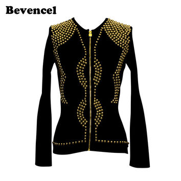2017 Summer Women Fashion Out wear BLack O-neck Full Sleeve Front Zipper Luxury Gold Beaded Celebrity Evening Party Jacket