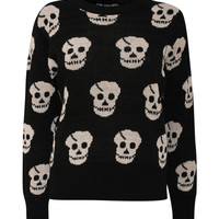 Multi Skulls Jumper in Black