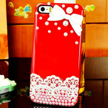 Beautiful Case with Lace, Pearls, and Bow Tie in 10 Different Colors! For iPhone 4/4S/5/5S
