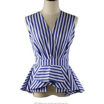 Summer Blouse Wear to Work V Neck Fashion Office Lady Tops Sleeveless Blue White Stripes Blouse