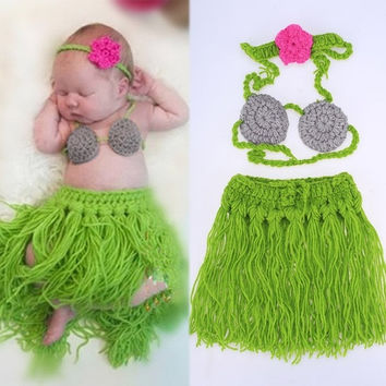 Baby Girl 3 Pieces Photo Prop Costume Photography Prop Knitted Crochet Headband Bra and Skirt Set (Color: Green) = 1947058180