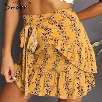 Simplee Ruffle tie up wrap skirt women Floral print dot mini skirt female Mermaid high waist casual short skirt summer 2018