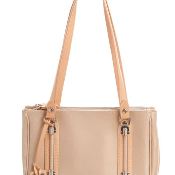 San Marco-Camel and Tan Over Shoulder Tote