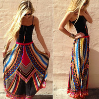 Women Sexy Print Long Skirt