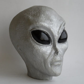 Alien Money Bank Head, Lifesize, Anunnaki Ancient Reptilian, boys toys, bust sculpture SciFi silver grey