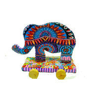 Elephant sculpture  - Art -Animal -Sculpture- Elephant on wheels  -design-polymer clay -Christmas