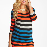 Blue-Red-Black-Wide-Striped-3/4-Sleeve-Fitted-Maternity-Top