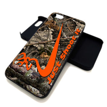 Nike Just Shoot It Browning Camo Hunting for iPhone 4 / 4s or iPhone 5 case, Black or White. ' Leave Note for Option '
