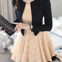 Black Lace Women Fashion Long Sleeve Korean New Fashion Style Casual Short Length Dress One Size FZ74044-46 (Size M Color Black) (Size M Color Black) (Size: M, Color: Black) = 1958125572