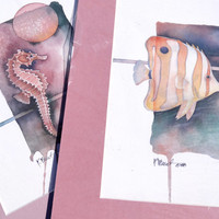 Vintage Set of Two Fish Watercolor Pictures by Paul Brent Seahorse 80s Decor