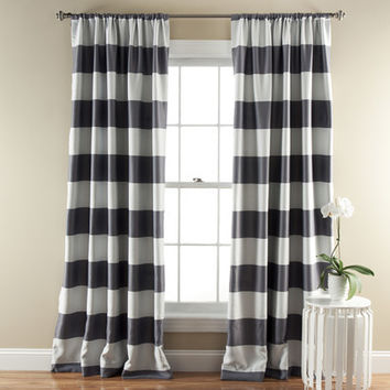 Lush Decor Stripe Blackout Single Curtain Panel
