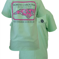 Southern Couture North Carolina Preppy Paisley State Pattern Better Place Girlie Bright T Shirt
