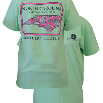 SALE Southern Couture North Carolina Preppy Paisley State Pattern Better Place Girlie Bright T Shirt