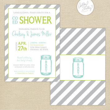 Co-Ed Baby Shower Mason Jar and Stripes Invitation : Aqua/Lime/Gray