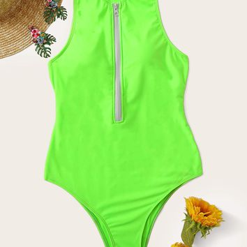 Neon Green Zipper-up Racerback One Piece Swimsuit