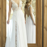 Lace Haute Couture Sexy Sheath Wedding Dress Bodice Illusion Open Back Ethereal Sheer Overskirt Beach Bridal Gowns 2017
