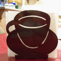 Napkin Holder - Metal - Coffee Cup - By PrecisionCut