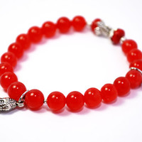"Natural Red Ruby, ""Stone of Nobility"", Semi Precious Red Gemstones with Silver Tone Accents, July Birthstone, Great Gift Idea,"