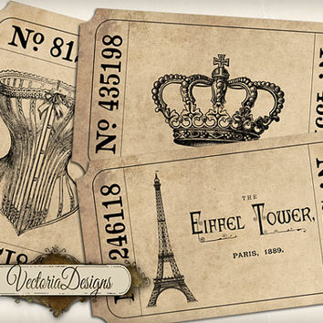 Paris Tickets printable images instant download digital collage sheet VD0467