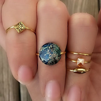 Gold Midi Ring Set, Blue Jasper Beaded Knuckle Rings, Set of 5, Gold Stacking Rings, Blue Jasper and Gold Bohemian Rings
