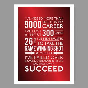 And that is why I succeed - Michael Jordan / Quote Poster - Inspirational & colorful h