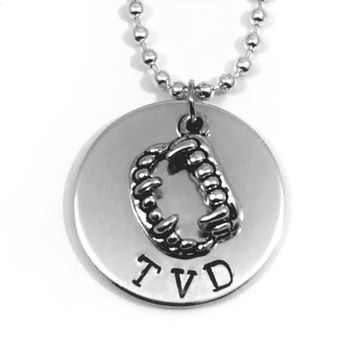 The Vampire Diaries TVD Hand Stamped Aluminum Necklace With Fangs Charm