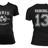 Fairchild 13 Idris University Shadowhunters Women Tshirt tee BLACK