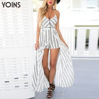 Women Bohemia Style Striped V Neck Crossed Back Jumpsuit Romper Fashion Playsuit with Splited Maxi