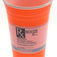 Spoontiques Prescription Rx Booze Party Cup 16 Oz Orange Refills Encouraged Gift