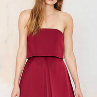 Burgundy Strapless Mini Dress