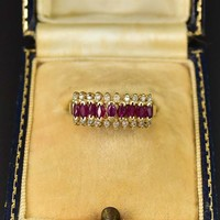 Estate Ruby and Diamond Chevron 14K Gold Ring