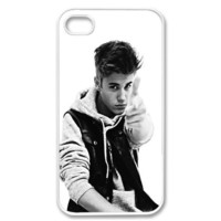 Apple iPhone 4 4G 4S Justin Bieber Cute Vintage WHITE Sides Case Skin Cover Protector Accessory Vin