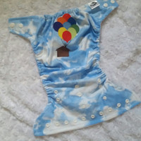 UP - House and Balloons Cloth Diaper Cover or Pocket Diaper - One-Size or Newborn, S, M, L