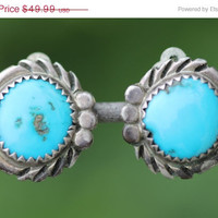 Sterling Silver  Earrings Turquoise Navajo Clip On
