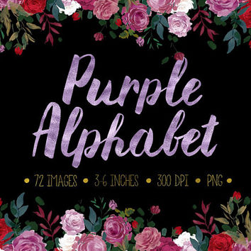 Purple Alphabet Clip Art. Purple Foil Letters, Numbers Symbols. Hand Written Metallic Lavender Wedding Font. Sparkle Fancy Lettering Clipart