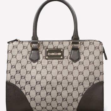 bebe Womens Jacquard Tote Tan