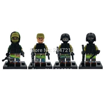 4 PZ hot decool compatible LegoINGlys mini Military war figures Russian special forces with weapons guns Building blocks toys