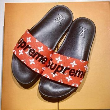 Boys & Men Louis Vuitton X Supreme Fashion Casual Slipper Shoes