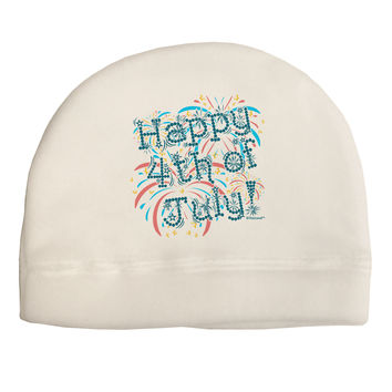 Happy 4th of July - Fireworks Design Adult Fleece Beanie Cap Hat