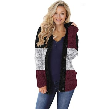 Winter Wine Hooded Button Cable Knit Cardigan